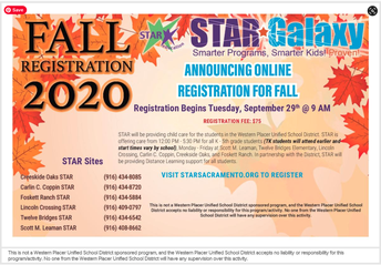 STAR registration flier
