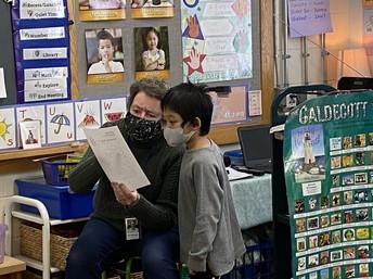 Mrs. Sullivan-Macdonald bringing library activites to the classroom!