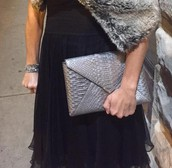 Pewter exotic skin clutch
