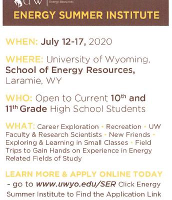 Energy Summer Institute- Univ of Wy