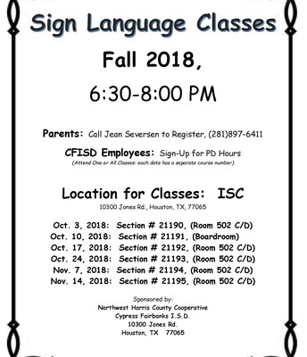 CFISD Sign Language Classes
