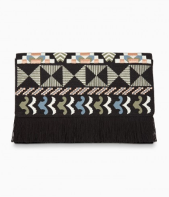 Taj Clutch - Black/Multi Embrodiery