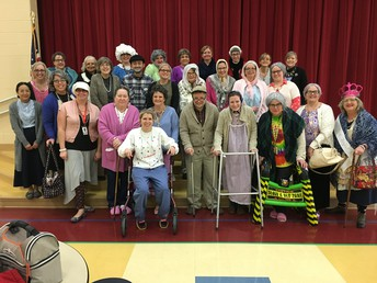 Wow! This staff is OLD!  100 Years on the 100th Day of school.