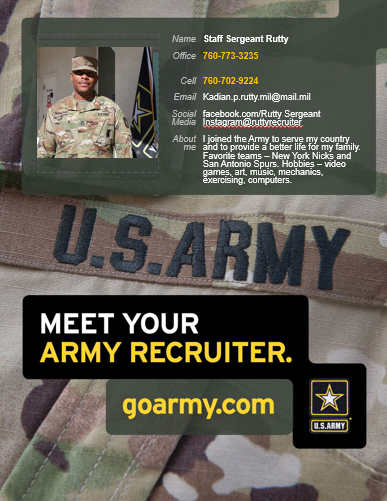 Connect with our Twin Palms Army Recruiter Staff Sergeant Rutty
