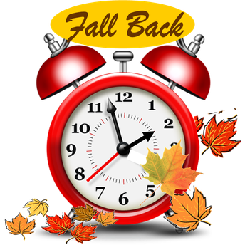 Daylight Saving Time Ends on Sunday, Nov. 3.   Remember to  SET your CLOCKS BACK 1 HOUR at 2AM.