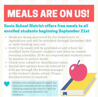 School Meals are Free for All Students through Dec. 2020