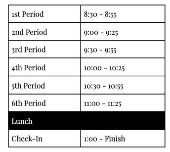 Benchmark Exams January 11-15.