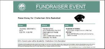 CHS Fundraiser for Cheltenham Girls Basketball