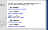Select a job zone