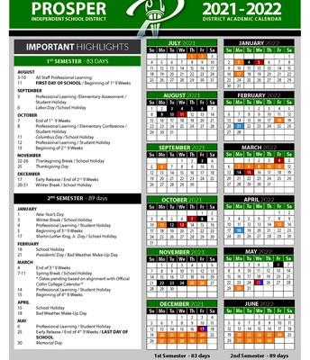 Updated 2021-2022 School Calendar