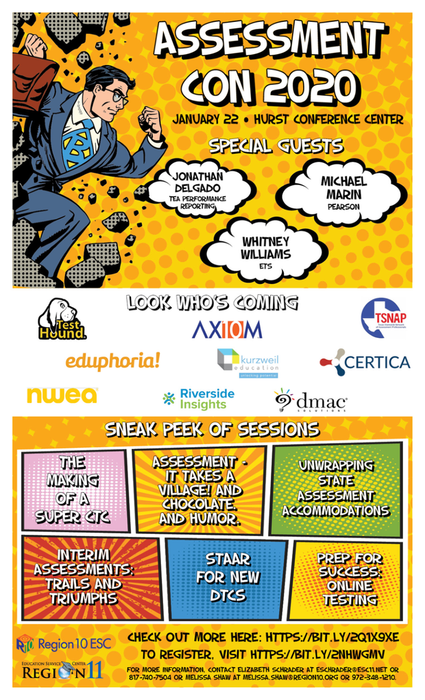 Region 10 Flyer for Assessment Con 2020. January 22, 2020 at the Hurst Convention Center