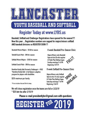 Lancaster Youth Baseball and Softball