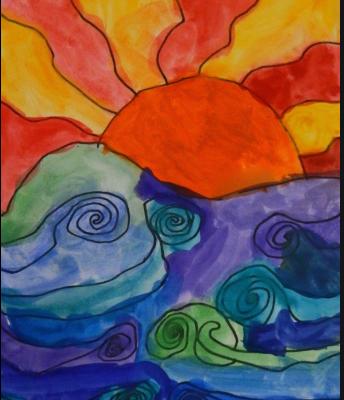 Watercolor Swirly Waves