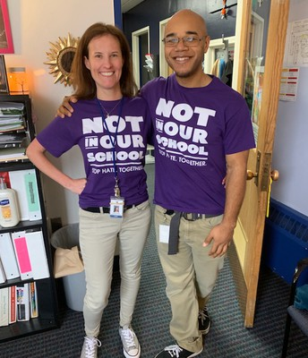 Mrs. Wilson and Mr. Parsons celebrate Twinday or Tuesday