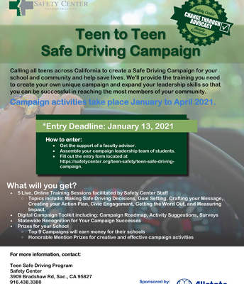 Teen to Teen Safe Driving Campaign Deadline: January 13, 2021