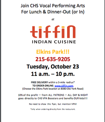 Tiffin for  CHS VPA Boosters