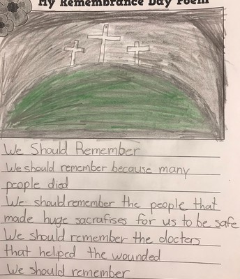 On November 11th the school paused for a virtual Remembrance Day Service