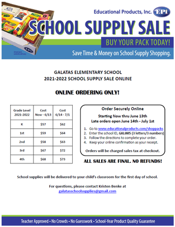 School Supplies are Available to Order!