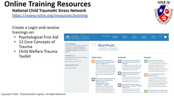National Child Traumatic Stress Network Online Account