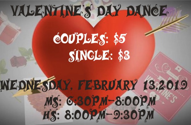 The Class of 2020 is hosting a Valentine's Day Dance on Wednesday, February 13th from 6:30pm - 9:30pm.  The dance will take place in the gym and concessions will be sold as well!  Parent volunteers are needed and welcomed.  See Mrs. Holman-Jones to volunteer.