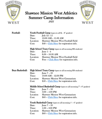Summer Athletic Camps Information