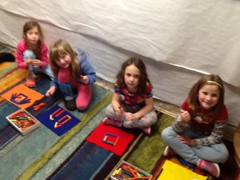 Working with the Cuisenaire rods.