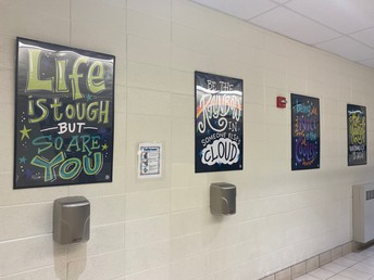 Wall Art in the students' bathroom