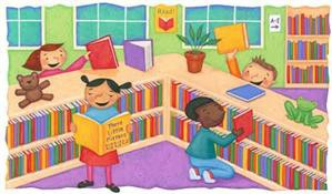Kids in a library icon