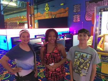 Leah, Te'Nia, and Brian at Zap Zone this summer