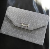 City Slim Clutch-Grey Geo Metallic