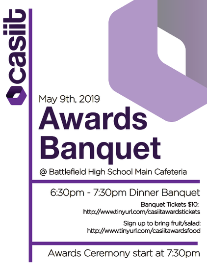 Poster with information of the CASIIT Award Banquet