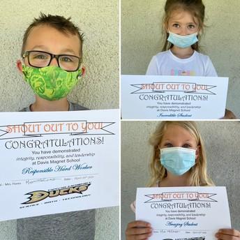 Kindergarten Shout Out Award Winners