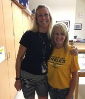 Ms. Hinkle and Mrs. Crawford love the Golden Eagles!