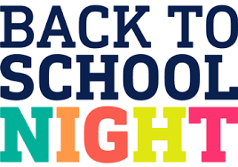 Back to School Night - Thursday, September 5th