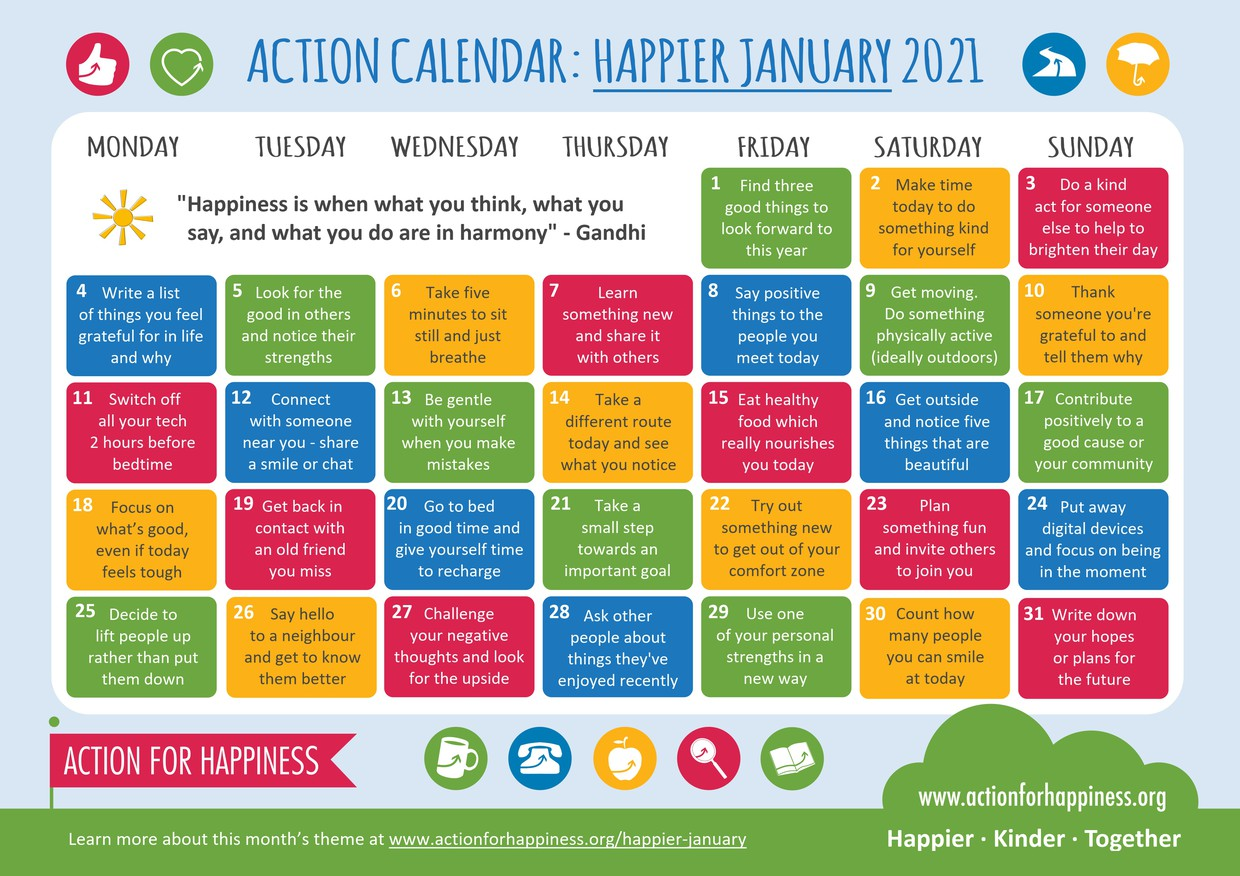 Action for Happiness January calendar with suggested activities for each day
