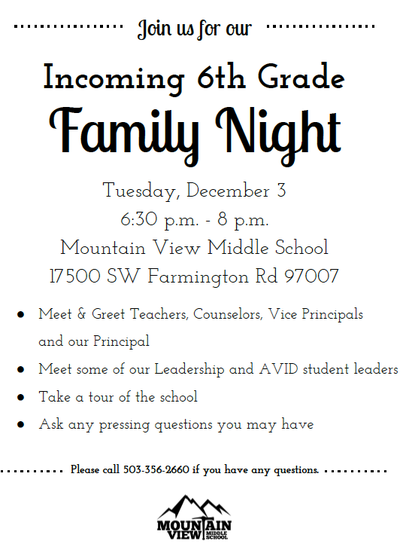 Incoming 6th Grade Night @ Mtn. View Dec. 3rd 6:30 pm