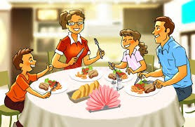 Have dinner together, talk, ask your child questions