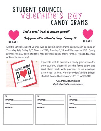 Student Council Valentine's Day Candy Grams