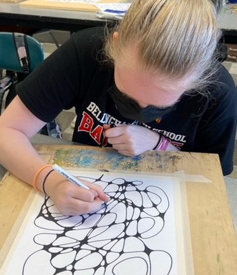 Students engaged in Art Class
