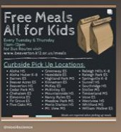Meal Pick-up Tuesdays and Thursdays at AHS 11:00-12:00