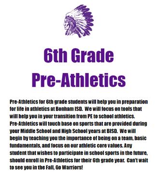 Pre-Athletics Information