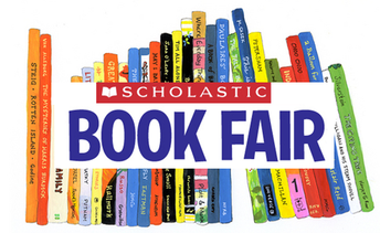 picture of books stacked on a shelf with the scholastic book fair logo over the top