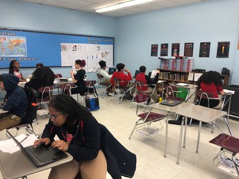 Mrs. Troutman's 9th graders in Learning Stations