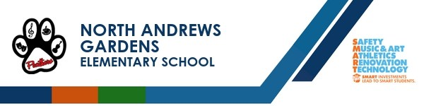 A graphic banner that shows North Andrews Gardens  School's name and SMART logo