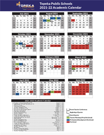 2021-2022 Topeka Public Schools Academic Calendar