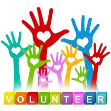 volunteers! block letters with multi colored raised hands