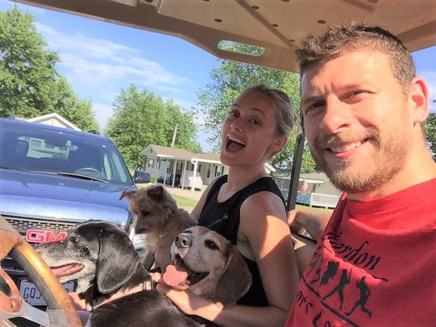 Munson Elementary Grade 3 Teacher Mr. Brian Buemi and his wife Megan along with furry friends (dogs) Chip, Piper and Dawson.