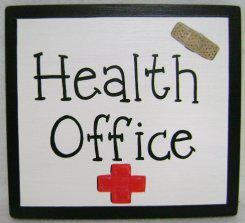 clip art of a sign that reads health office, with a red cross underneath and a bandaid in the top right corner