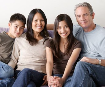 Picture of a family sitting on a couch