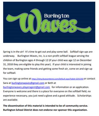 Burlington Waves Softball Sign Ups
